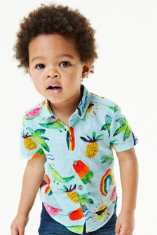 Blue Lolly Print Shirt Cotton Short Sleeve (3mths-7yrs)
