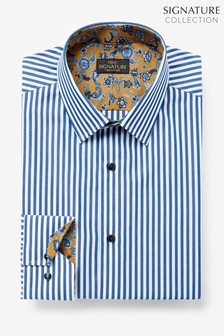 Blue Stripe Slim Fit Single Cuff Trim Detail Signature Shirt