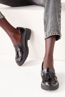 Black Cleated Fringe Loafers