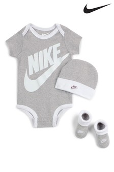 Nike Baby Grey Vest Hat And Bootie Set
