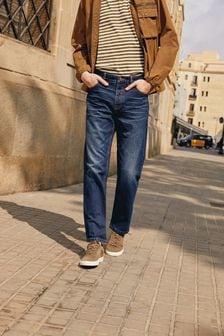 Mid Blue Straight Fit Cotton Rigid Jeans