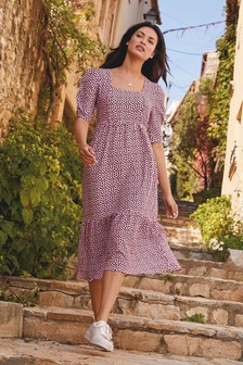 Purple Spot Square Neck Dress