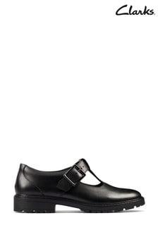 Clarks Black Leather Loxham Shine Youths Shoes