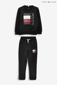 Tommy Hilfiger Black Global Stripe Tracksuit Set