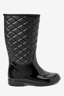Black Quilted Wellies (Older)