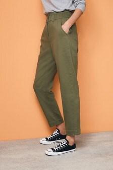 Khaki Elasticated Waist Tapered Jeans