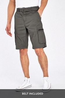 Dark Khaki Belted Cargo Shorts