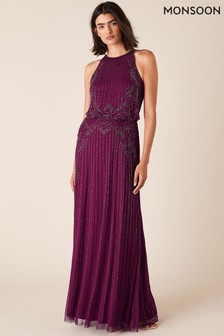 Monsoon Red Belle Bead Embellished Maxi Dress In Recycled Fabric