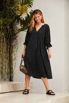 Black Broderie Sleeve Kaftan Dress