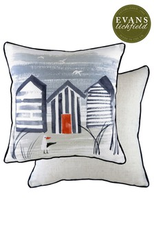 Nautical Beach Huts Cushion by Evans Lichfield