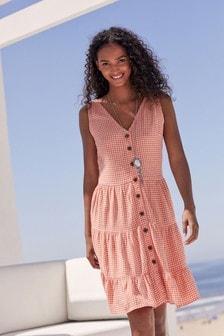Coral Check Viscose/Linen Mixed Tiered Mini Dress