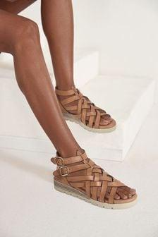 Tan Regular/Wide Fit Forever Comfort® Slotted Wedge Gladiator Sandals