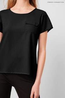 French Connection Black Classic Crepe Light Packet T-Shirt