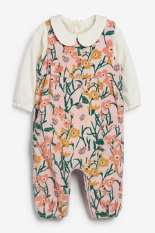 Mink/Ochre Floral Cord Dungarees and Bodysuit (0mths-2yrs)