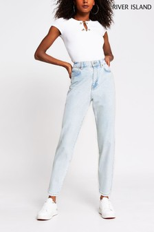 River Island Denim Light Tapered High Rise Clash Jeans