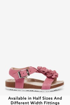 Pink Leather Wide Fit (G) Flower Sandals (Younger)