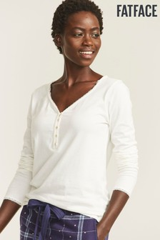 FatFace Natural Lily Lace Henley Pyjama Top