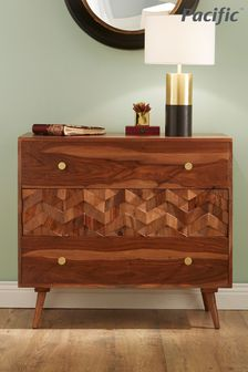 Pacific Lifestyle Sheesham Wood Honeycomb Design 3 Drawer Chest