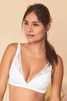 White Daisy Cotton And Lace Lightly Padded Wire Free Bra
