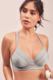 Light Grey/Pink High Impact Full Cup Underwired Sports Bra