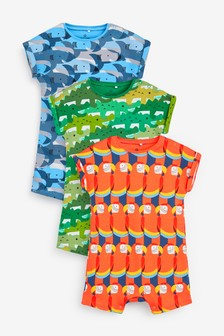Orange 3 Pack Retro Character Rompers (0mths-3yrs)