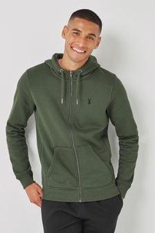 Khaki Green Zip Through Hoodie Jersey Top