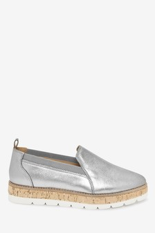 Pewter Leather EVA Chunky Sole Slipper Loafers