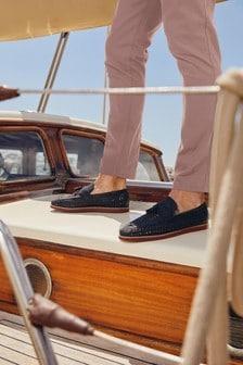 Navy Tassel Weave Loafers