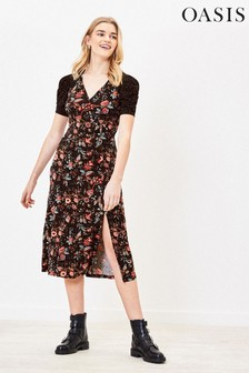 Oasis Black Balinese Patched Midi Dress