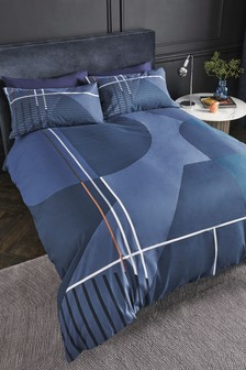 Large Scale Geometric Duvet Cover And Pillowcase Set