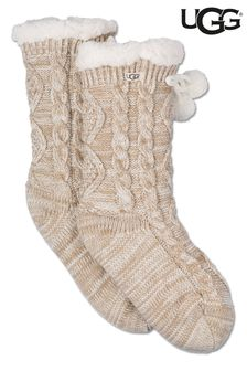 UGG Cream Pom Pom Fleece Lined Socks