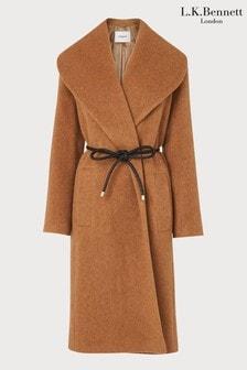 L.K.Bennett Camel Manon Drawn Wool Coat With Leather Tie Belt