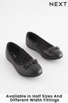 Black Narrow Fit (E) Leather Ballet Shoes