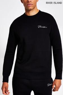 River Island Black Slim Prolific MB Crew Neck Sweater