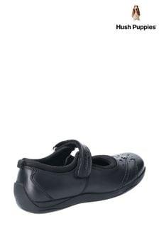 Hush Puppies Black Amber Junior School Shoes
