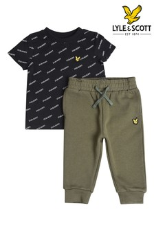 Lyle & Scott Black All Over Print T-Shirt And Joggers Set