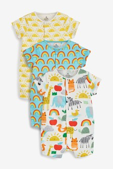 Yellow 3 Pack GOTS Organic Sunshine Rainbow Rompers (0mths-3yrs)