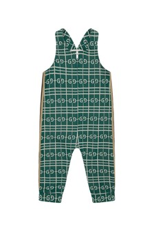 GUCCI Kids Baby Boys Green Cotton Overall