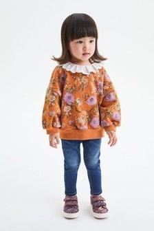 Orange Floral Collar Sweatshirt (3mths-7yrs)