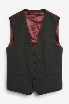 Charcoal Wool Mix Textured Suit: Waistcoat