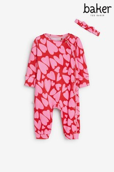 Baker by Ted Baker Red/Pink Love Heart Sleepsuit