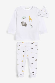 White GOTs Organic Three Piece Leggings, T-Shirt And Hat Set (0-9mths)