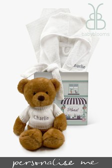 Babyblooms Personalised Bathrobe and Charlie Bear Soft Toy