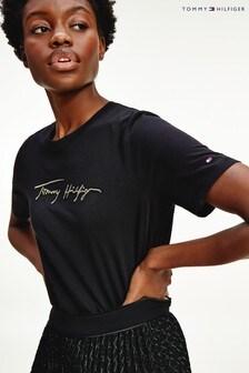 Tommy Hilfiger Black Gold Embossed Script T-Shirt
