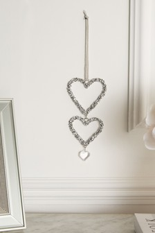 Set of 2 Harper Heart Shaped Hanging Decorations