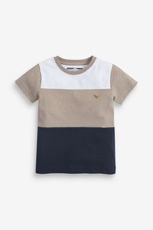 Multi Short Sleeve Pique Colourblock T-Shirt (3mths-7yrs)