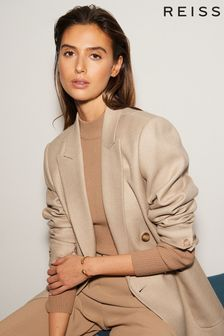 Reiss Camel Larsson Double Breasted Twill Blazer