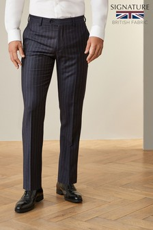 Navy Tailored Fit Signature Stripe Suit: Trousers