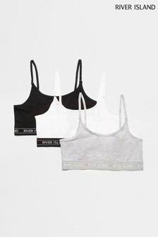 River Island Grey Crop Bralets Three Pack