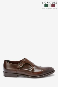 Brown Signature Italian Leather Monk Shoes